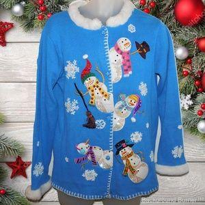 NWT QUACKER FACTORY Christmas Snowman Sweater